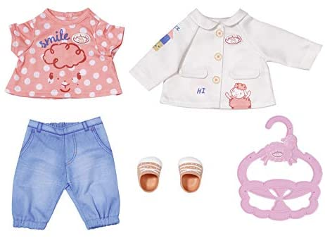 Baby Annabell 704127 Little Play Outfit-Clothing for 36cm Dolls-for Toddlers Ages 12 Months & Up-Easy for Small Hands-Includes Jacket, Blouse, Pants, Shoes & Hanger