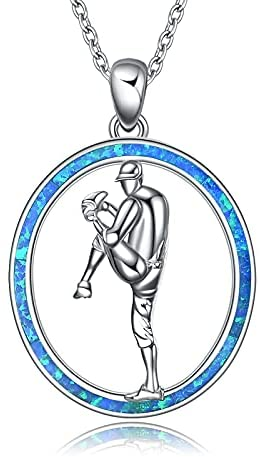 Baseball Necklace Youth Sports Sterling Silver Baseball Player Pendant Necklace Jewelry Gift for Men Women