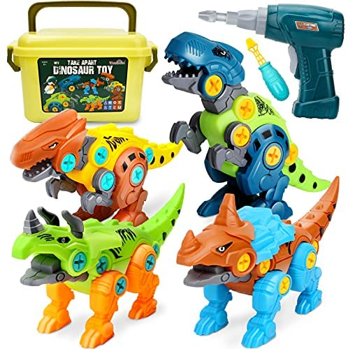 Dreamon Take Apart Dinosaur Toys for Kids with Storage Box Electric Drill, DIY Construction Build Set Educational STEM Gifts for Boys Girls