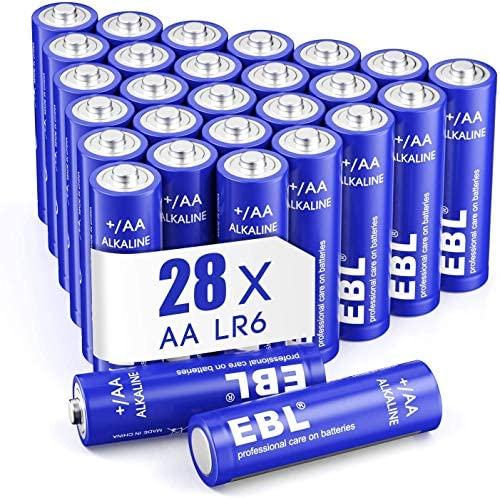 EBL AA Batteries 1.5V AA Alkaline Battery – Double A/Micro/Mini/Penlite/LR03 Homebasic Everyday AA Batteries for Game Controller, Mouse, Remote – Pack of 28