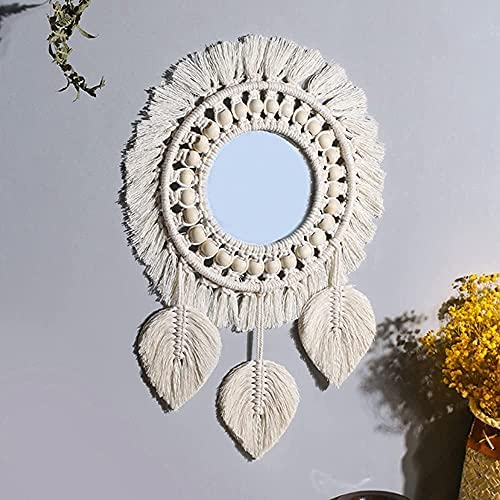 Hanging Wall Mirror Handmade Boho Macrame Fringe Round Wall decor with Wood Beads 3pcs leaf Pendant for Apartment Home Bedroom Living Room