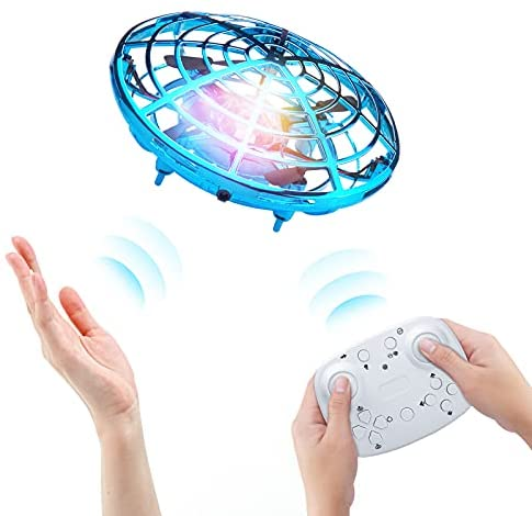 Kriogor UFO Mini Drone, Remote Control and Hand Sensor RC Quadcopter Infrared Induction Flying Ball Flying Toys for Boys Girls Indoor