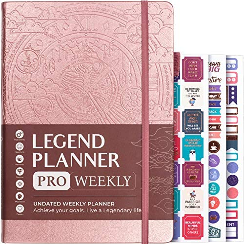 Legend Planner PRO – Deluxe Weekly & Monthly Life Planner to Increase Productivity and Hit Your Goals. Time Management Organizer Notebook – Undated – 18cm x 25cm Hardcover + Stickers – Rose Gold