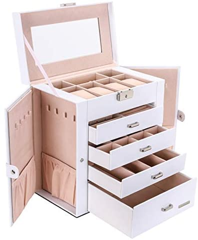 Seelux Large Jewellery Box, 5-Layer Jewelry Storage with Drawers, Mirror and Lock, Watch Box, Gift Case for Necklaces, Rings, Bracelets, Watches, Earrings, Faux Leather, White (Reusable)