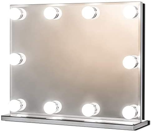 Star Vision Hollywood Mirror with Lights for Dressing Table, Large Lighted Vanity Makeup Mirror with 10 Dimmable LED Bulbs, Frameless Light up Mirror, Three Colour Modes, Tabletop or Wall Mount