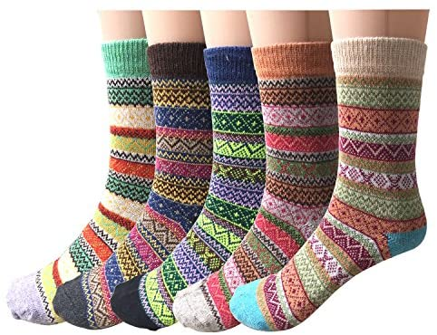 5 Pairs Womens Socks Wool Thermal Warm Knitting Ladies Socks for Winter, One Size, Mix 3