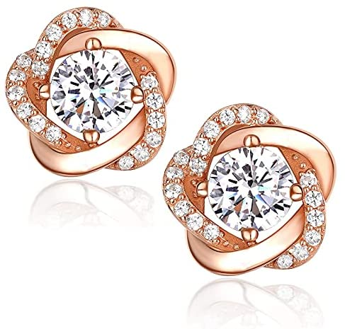 CRYSLOVE Valentine's Gifts Earrings for Women 925 Sterling Silver 5A Cubic Zirconia Stud Earrings, Elegant Gift Box Packaging