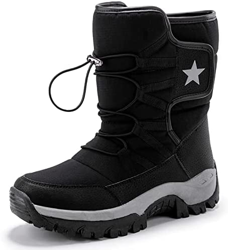 GURGER Womens Mens Winter Snow Boots Waterproof Mid Calf Warm Boots Fur Lined Outdoor Boots
