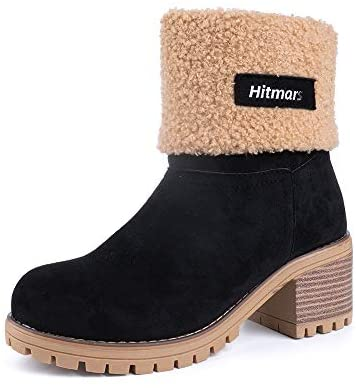 Ladies Winter Boots Womens Fur Lined Boots Suede 6CM Mid Block Heel Slip On Snow Warm Boot Casual Walking Combat Black Brown Red Yellow Size 3-9 UK