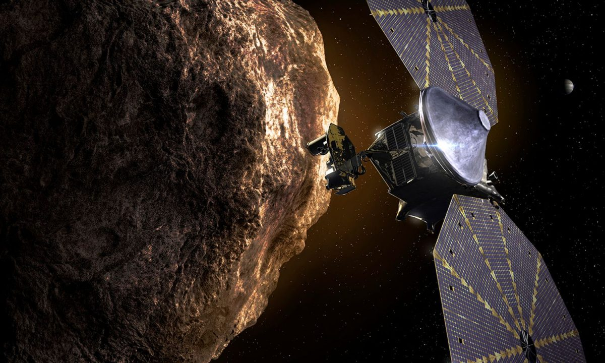 The Lucy probe will be powered by enormous solar panels that are each the size of a bus. Pic: NASA