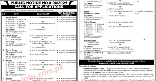 PO Box 1737 Islamabad Progressive Public Sector Organization Jobs 2021 for Assistant Managers, Managers, General Managers, IT, Engineering, Scientific and Other - Pakistan Jobs