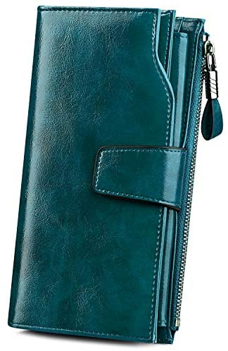 S-ZONE RFID Blocking Wallets PU Leather Women Purses Zipper Pocket Card Case with ID Window Large Capacity Ladies (Green)