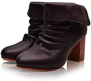 Women's Slouch Boots Ankle Short Boots Leather Snow Boots Block Heel Booties Waterproof Winter Slip On Boot Outdoor Walking Shoes
